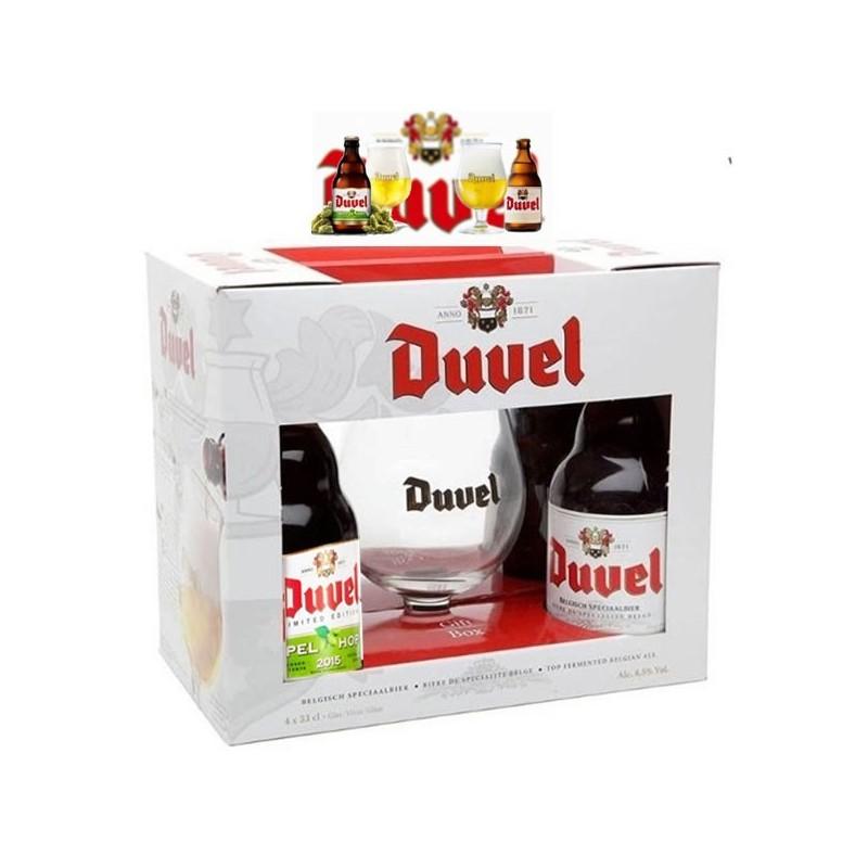 Duvel Mix díszdobozban 4x0.33l sör + 1db pohár díszdobozban
