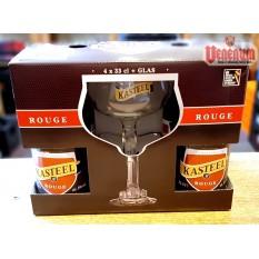 Kasteel Rouge díszdoboz 4x0,33l + pohár Meggyes belga sörcsomag