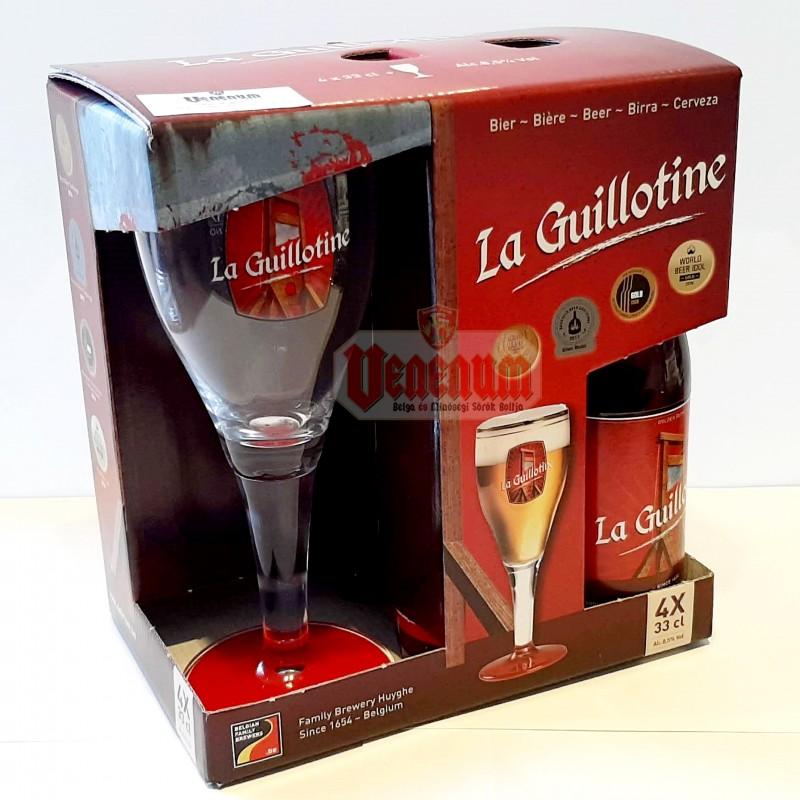 La Guillotine 4x0,33L + pohár díszdobozban belga sör